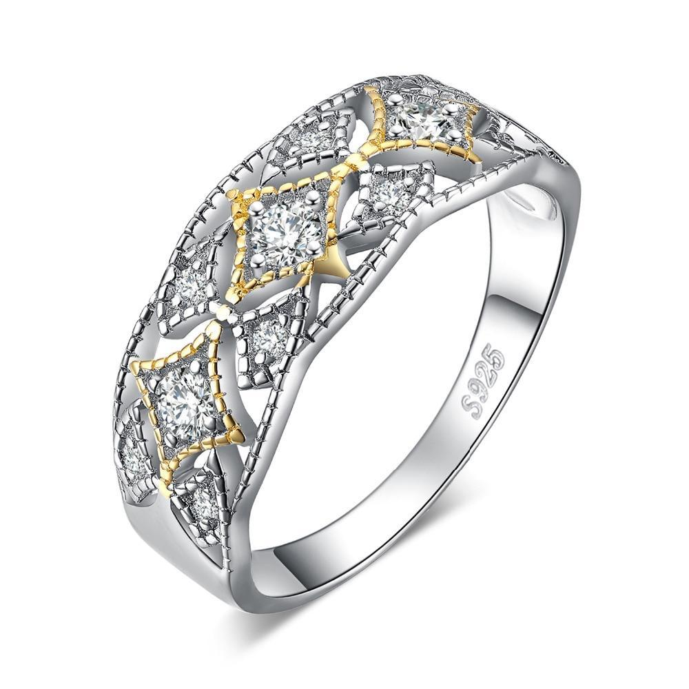 925 Sterling Silver Vintage Filigree Cubic Zirconia Statement Ring
