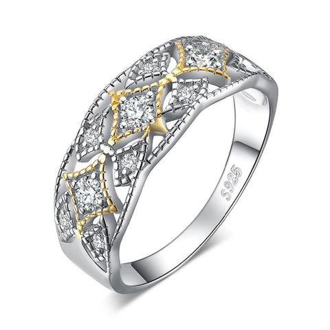 Image of 925 Sterling Silver Vintage Filigree Cubic Zirconia Statement Ring