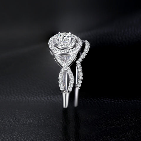 Image of Cubic Zirconia Stackable Halo Engagement Ring in 925 Sterling Silver