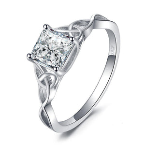 Celtic Knot 1.7ct Cubic Zirconia Solitaire Engagement Ring in 925 Sterling Silver