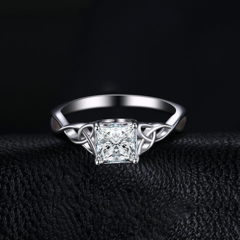 Image of Celtic Knot 1.7ct Cubic Zirconia Solitaire Engagement Ring in 925 Sterling Silver