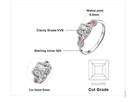 Image of Infinity 1.2ct Princess Cut Cubic Zirconia Ring in 925 Sterling Silver