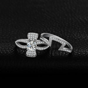 1ct Cubic Zirconia Flora Ribbon Bowknot Split Shank Ring in 925 Sterling Silver