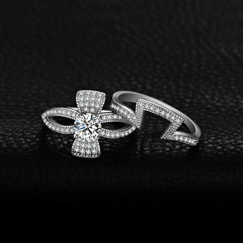 Image of 1ct Cubic Zirconia Flora Ribbon Bowknot Split Shank Ring in 925 Sterling Silver