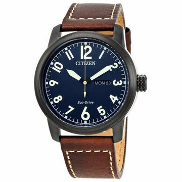 CITIZEN Chandler Dark Blue Dial Men's Brown Leather Watch men watch analog Watches-Direct-SA