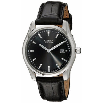 CITIZEN Eco Drive Black Dial Black Leather Men's Watch men watch analog Watches-Direct-SA