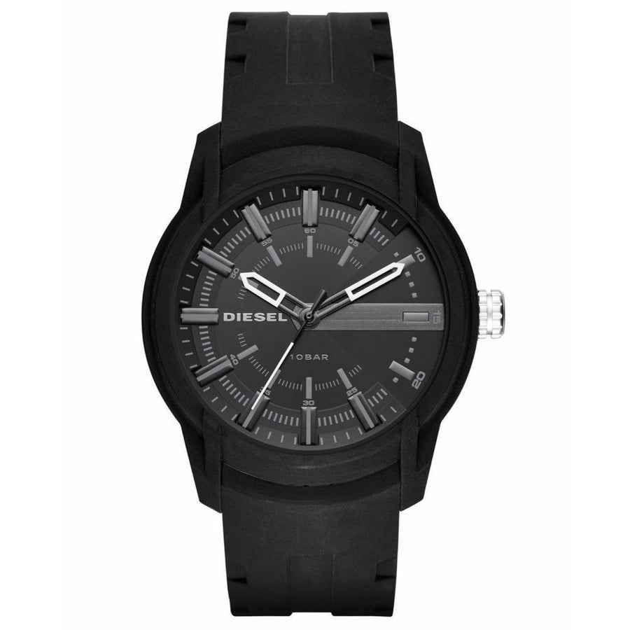 DIESEL Armbar Grey Dial Black Silicone Men's Watch men watch analog Watches-Direct-SA
