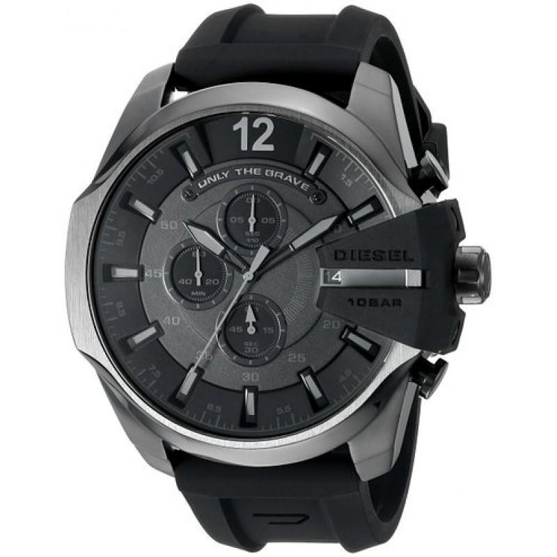 DIESEL Chief Black Dial Black Silicone Men's Chronograph Watch men watch analog Watches-Direct-SA