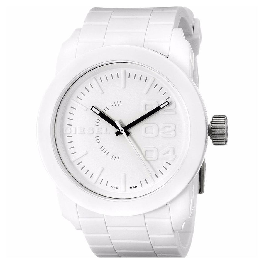 DIESEL Double Down White Rubber Men's Watch men watch analog Watches-Direct-SA