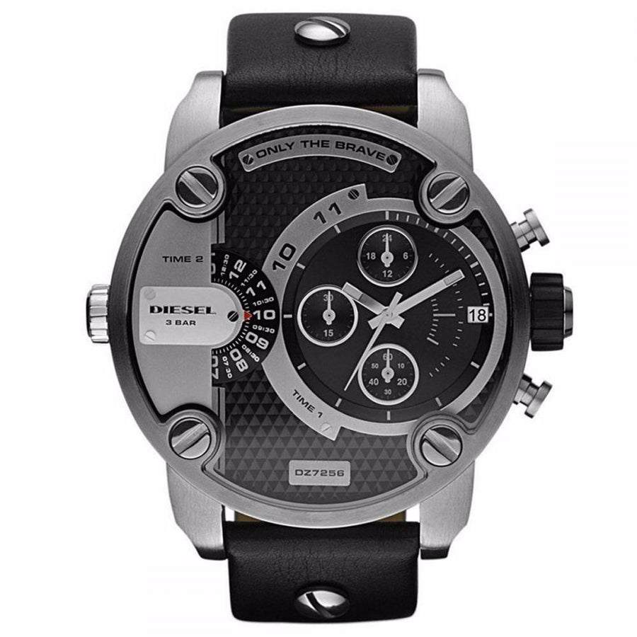 DIESEL Little Daddy Black and Grey Dial Men's Watch men watch analog Watches-Direct-SA