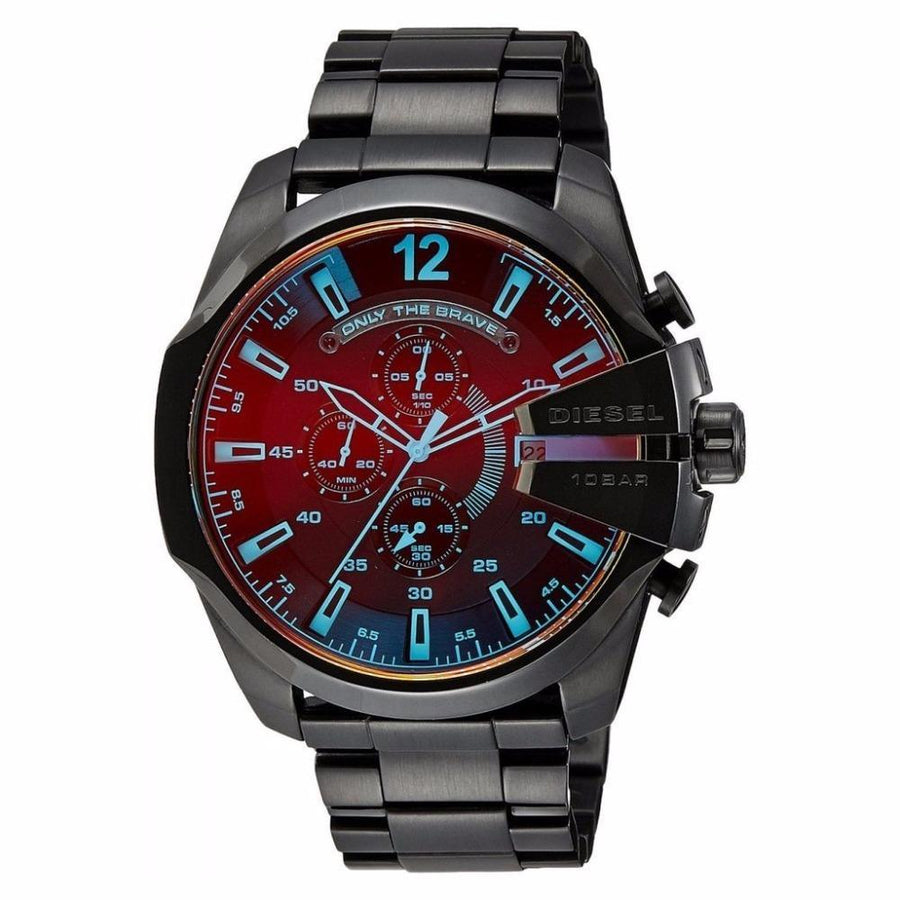 DIESEL Mega Chief Black Ion-plated Stainless Steel Men's Watch men watch analog Watches-Direct-SA