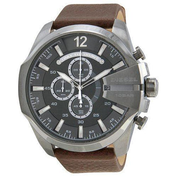 DIESEL Mega Chief Chronograph Grey Dial Brown Leather Men's Watch men watch analog Watches-Direct-SA
