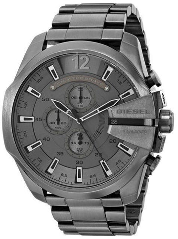 DIESEL Mega Chief Chronograph Grey Dial Gunmetal Men's Watch men watch analog Watches-Direct-SA