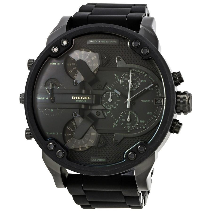 DIESEL Men's Mr. Daddy 2.0 Black Dial Men's Chronograph GMT Watch men watch analog Watches-Direct-SA