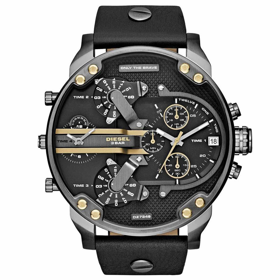 DIESEL Mr. Daddy 2.0 Black Dial Black Leather Men's Watch men watch analog Watches-Direct-SA