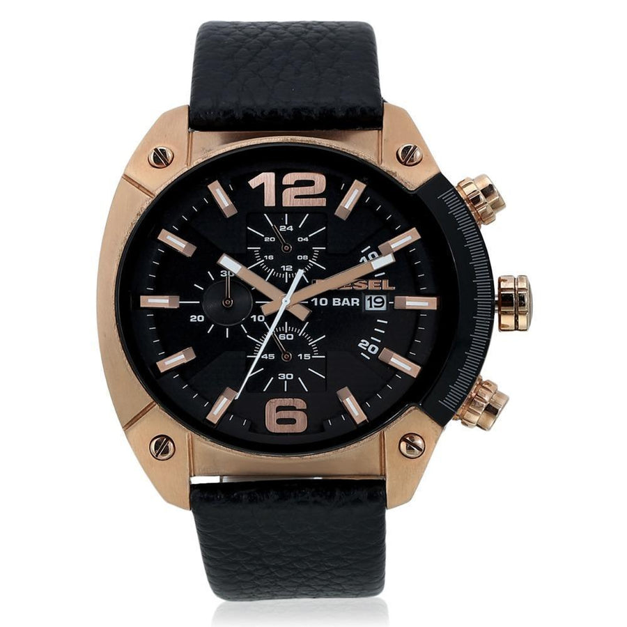 DIESEL Overflow Chronograph Black Dial Black Leather Men's Watch men watch analog Watches-Direct-SA
