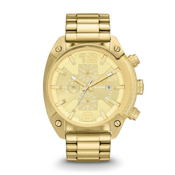 DIESEL Overflow Chronograph Champagne Dial Gold-tone Men's Watch men watch analog Watches-Direct-SA