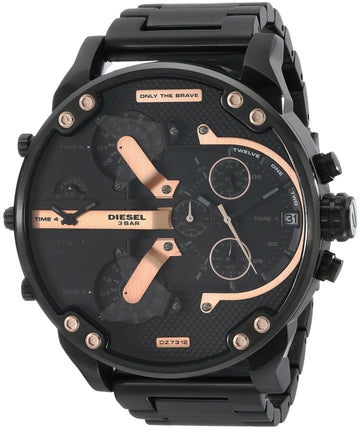 DIESEL The Daddies Chronograph Four Time Zone Dial Black Ion-plated Men's Watch men watch analog Watches-Direct-SA