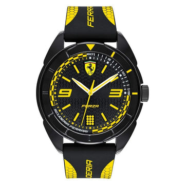 Ferrari Forza Men's, Quartz Plastic and Silicone Strap Casual Watch, Black with Yellow Detail men watch analog Watches-Direct-SA