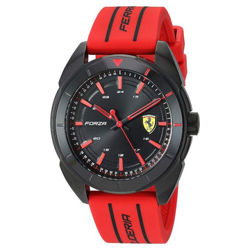 Ferrari Men's Forza Quartz Black IP and Silicone Strap Casual Watch men watch analog Watches-Direct-SA