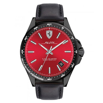 Ferrari Men's Pilota Quartz Black IP and Leather Strap Casual Watch men watch analog Watches-Direct-SA