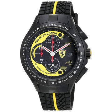 Ferrari Men's Race Day Black and Yellow Watch with Textured Rubber Strap men watch analog Watches-Direct-SA