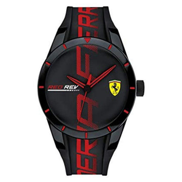 Ferrari Men's RedRev Quartz Watch & Silicone Black Strap men watch analog Watches-Direct-SA