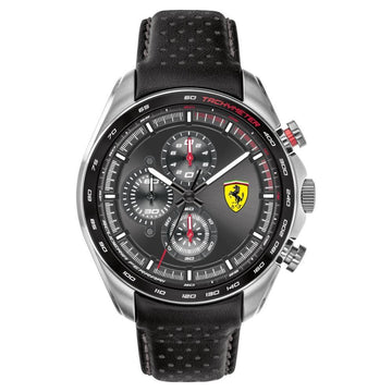 Ferrari Men's SPEEDRACER Stainless Steel Quartz Watch with Leather Calfskin Strap men watch analog Watches-Direct-SA