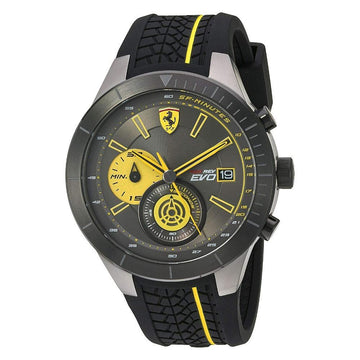 Ferrari Red Rev Chronograph Black and Yellow Dial Men's Watch men watch analog Watches-Direct-SA