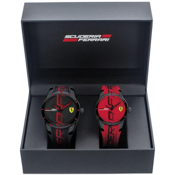 Ferrari RedRev His & Her's Gift Set, Quartz Plastic and Silicone Strap Casual Watch men watch analog Watches-Direct-SA