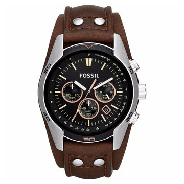 Fossil Coachman Chronograph Black Dial Brown Leather Men's Watch men watch analog Watches-Direct-SA