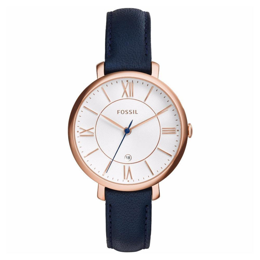 Fossil Jacqueline Silver Dial Navy Blue Leather Women's Watch women watch analog Watches-Direct-SA