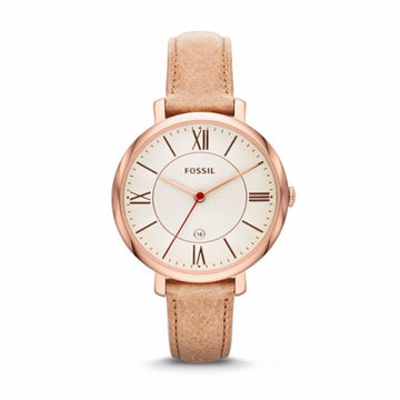 Fossil Jacqueline White Dial Camel Leather Strap Women's Watch women watch analog Watches-Direct-SA