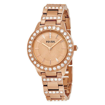 FOSSIL Jesse Crystal Rose Gold Dial Ladies Watch women watch analog Watches-Direct-SA