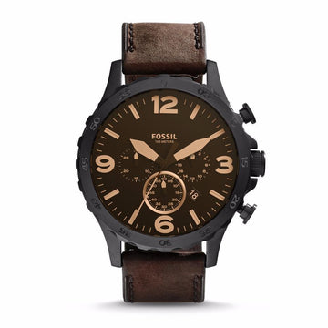 Fossil Nate Chronograph Brown Leather Men's Watch men watch analog Watches-Direct-SA