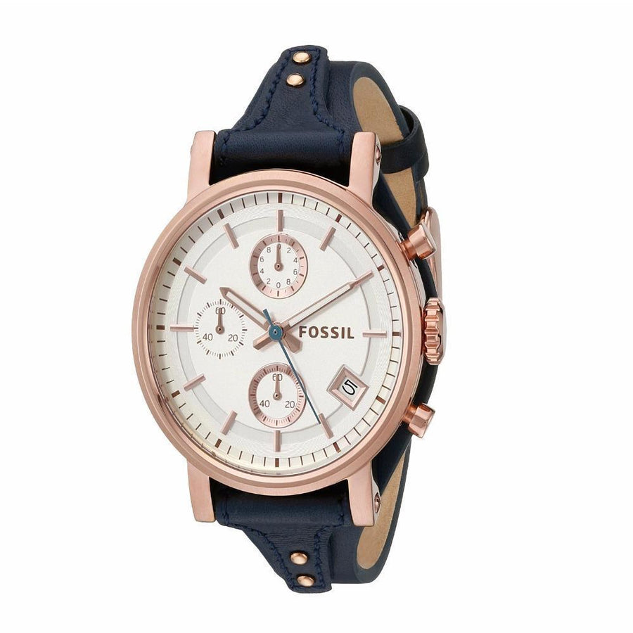 FOSSIL Original Boyfriend Quartz Chronograph Blue Leather Strap Women's Watch women watch analog Watches-Direct-SA