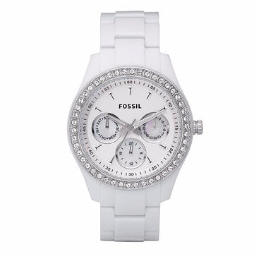 FOSSIL Stella Day Date Display Quartz White Dial Ladies Watch women watch analog Watches-Direct-SA