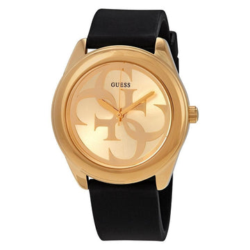 GUESS G-Twist Gold Dial Black Leather Ladies Watch women watch analog Watches-Direct-SA