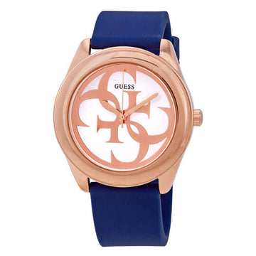 GUESS G-Twist Silver Dial Blue Silicone Ladies Watch women watch analog Watches-Direct-SA