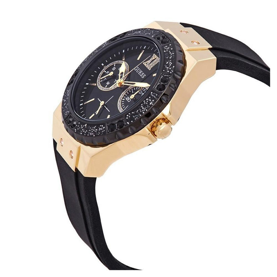 Guess gold tone case with Crystal stones & black silicone watch strap women watch analog Watches-Direct-SA