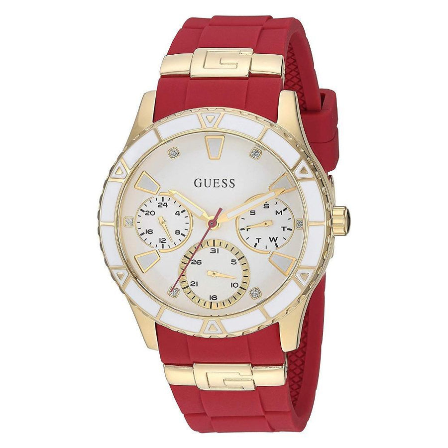 GUESS Gold-Tone & Iconic Red Stain Resistant Silicone Watch women watch analog Watches-Direct-SA