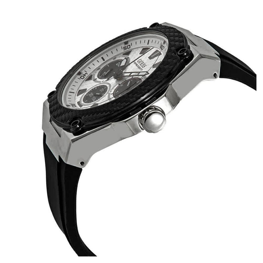 GUESS Legacy Quartz White Dial Black Rubber Men's Watch Watches-Direct-SA