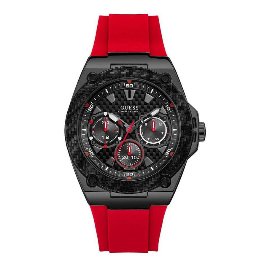 Guess Men's Comfortable Iconic Red Silicone Watch men watch analog Watches-Direct-SA