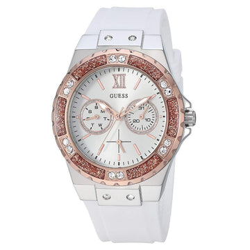 GUESS Women's Stainless Steel & Stain Resistant White Silicone Watch women watch analog Watches-Direct-SA