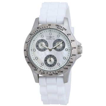 INVICTA Speedway Multi-Function Mother of Pearl Dial White Silicone Ladies Watch women watch analog Watches-Direct-SA