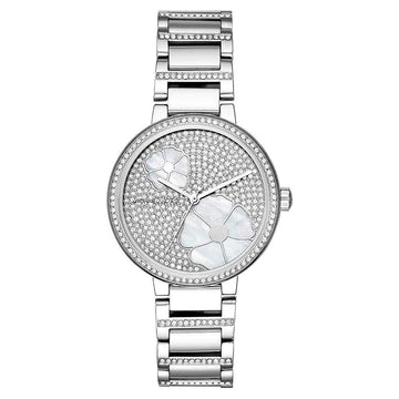 Michael Kors Courtney Stainless Steel Watch Pave Flowers women watch analog Watches-Direct-SA