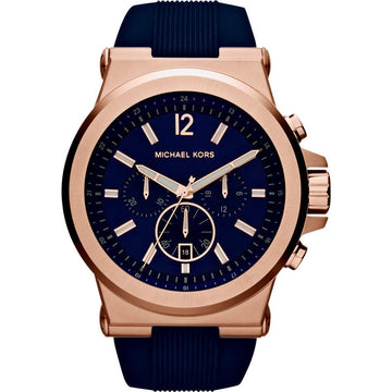 MICHAEL KORS Dylan Navy Dial Rose Gold-tone Navy Silicone Strap Men's Watch men watch analog Watches-Direct-SA