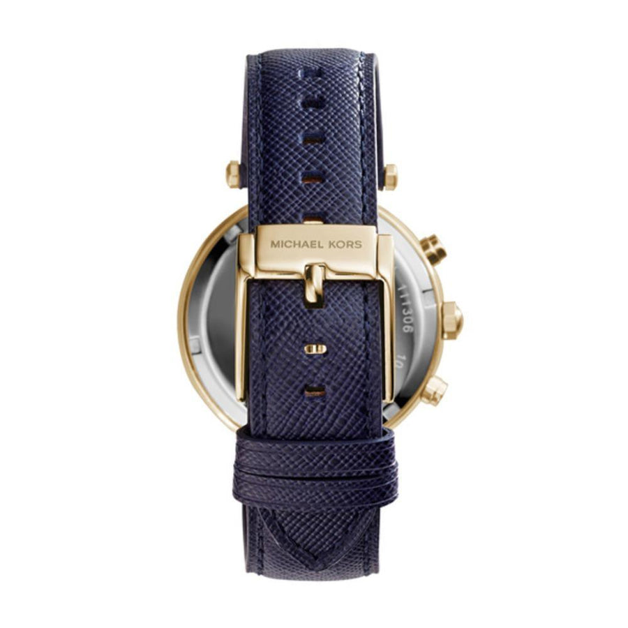 MICHAEL KORS Parker Chronograph Gold-tone Navy Leather Ladies Watch women watch analog Watches-Direct-SA