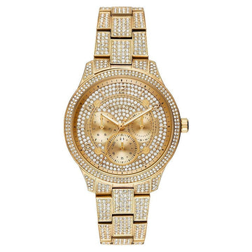 Michael Kors Runway Pave Dial Gold Tone Women's Watch women watch analog Watches-Direct-SA