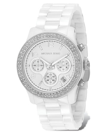 MICHAEL KORS Runway White Dial White Ceramic Ladies Watch women watch analog Watches-Direct-SA